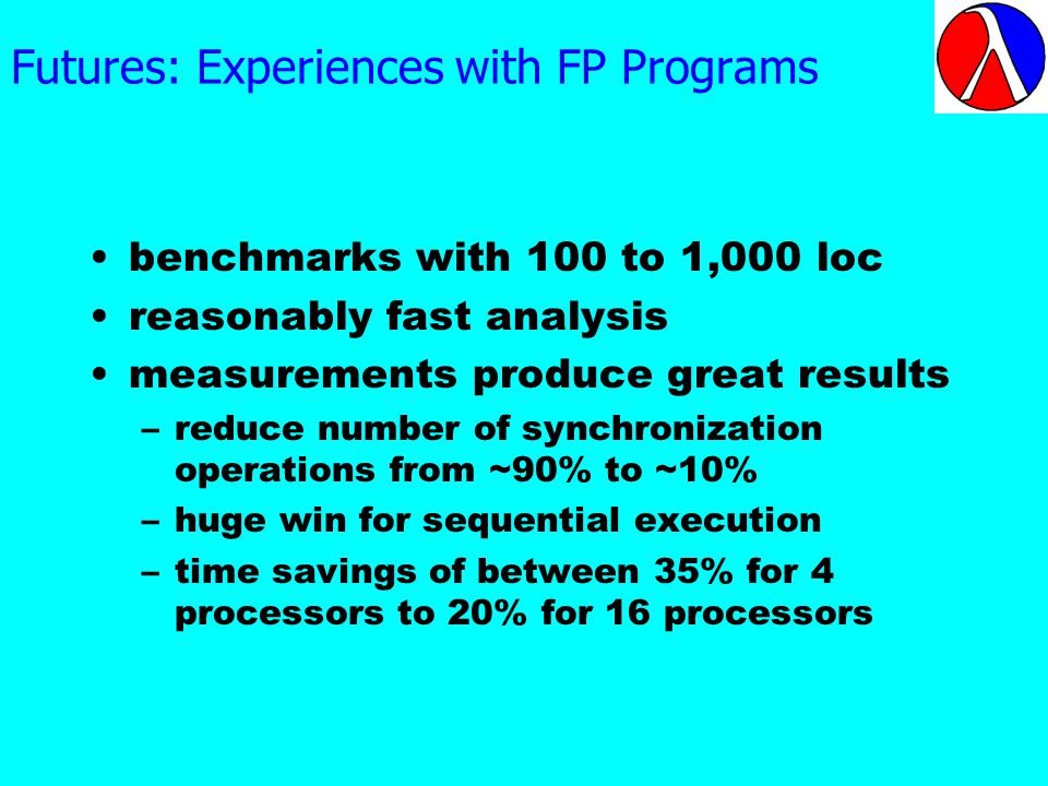 Futures: Experiences with FP Programs benchmarks with 100 to 1,000 loc reasonably fast analysis measurements produce great results –reduce number of synchronization operations from ~90% to ~10% –huge win for sequential execution –time savings of between 35% for 4 processors to 20% for 16 processors