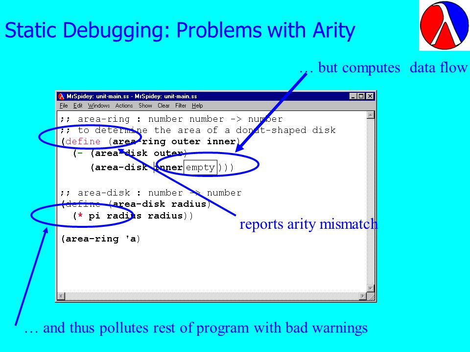 Static Debugging: Problems with Arity reports arity mismatch … but computes data flow … and thus pollutes rest of program with bad warnings