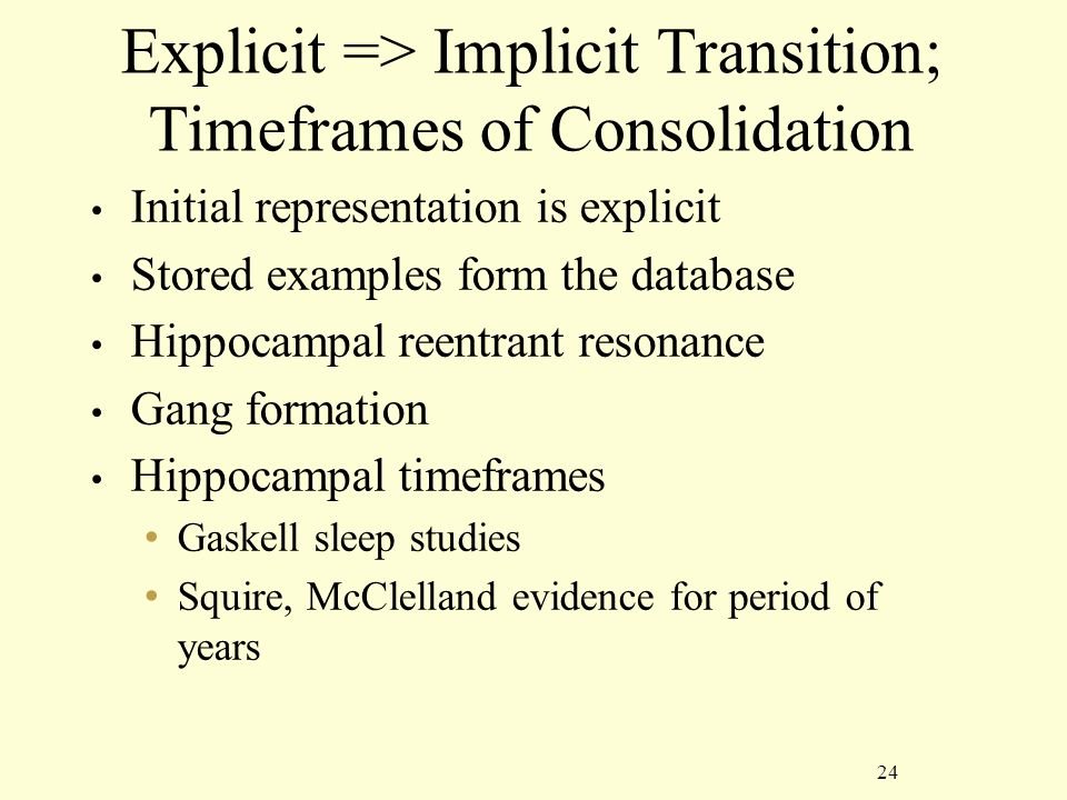 24 Explicit => Implicit Transition; Timeframes of Consolidation Initial representation is explicit Stored examples form the database Hippocampal reentrant resonance Gang formation Hippocampal timeframes Gaskell sleep studies Squire, McClelland evidence for period of years