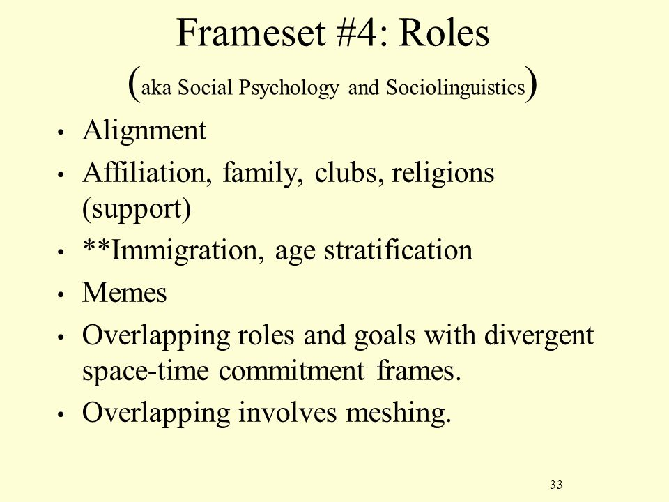 33 Frameset #4: Roles ( aka Social Psychology and Sociolinguistics ) Alignment Affiliation, family, clubs, religions (support) **Immigration, age stratification Memes Overlapping roles and goals with divergent space-time commitment frames.