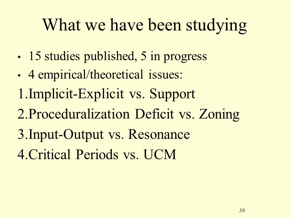 39 What we have been studying 15 studies published, 5 in progress 4 empirical/theoretical issues: 1.