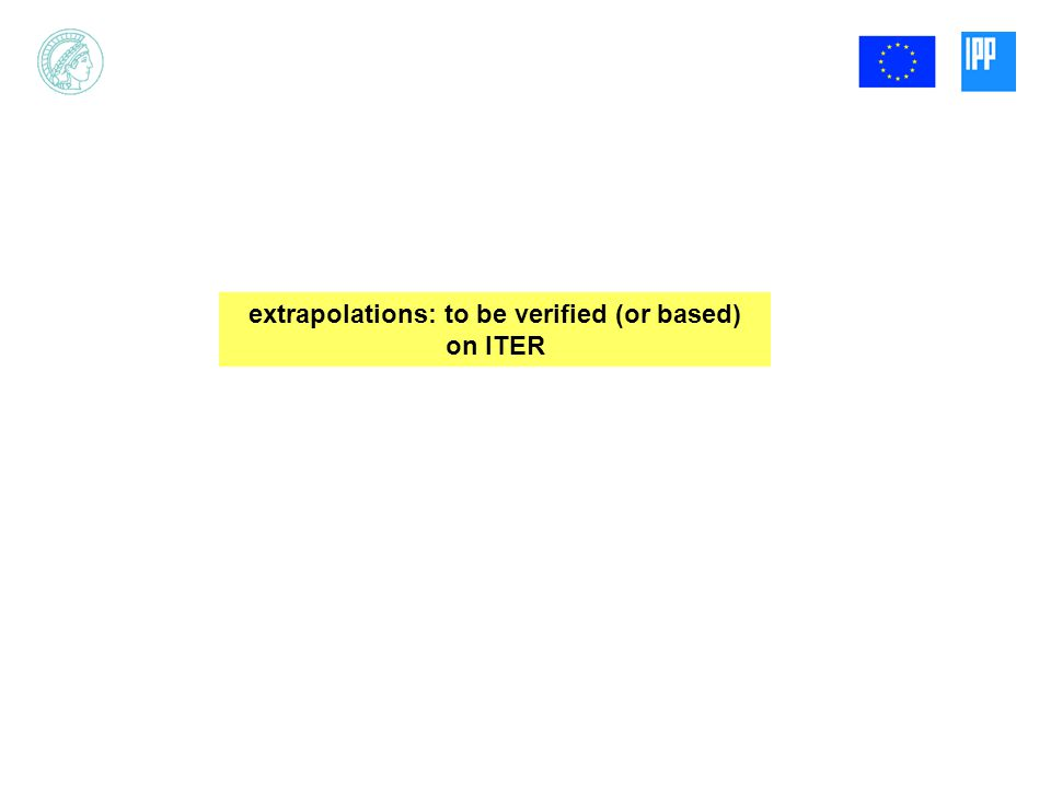 extrapolations: to be verified (or based) on ITER