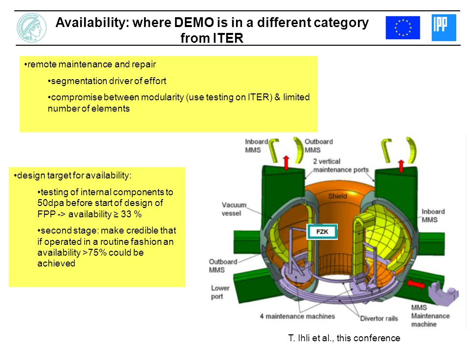 Availability: where DEMO is in a different category from ITER remote maintenance and repair segmentation driver of effort compromise between modularity (use testing on ITER) & limited number of elements T.