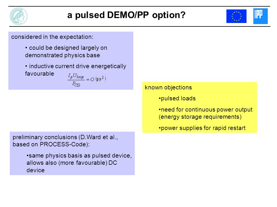 a pulsed DEMO/PP option.