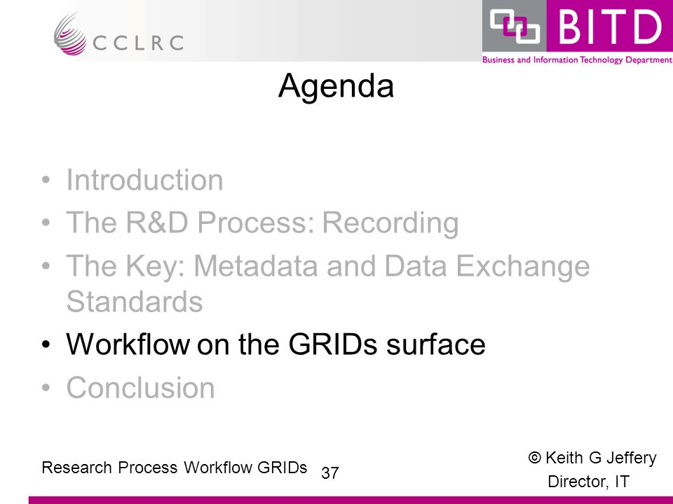 © Keith G Jeffery Director, IT 37 Research Process Workflow GRIDs Agenda Introduction The R&D Process: Recording The Key: Metadata and Data Exchange Standards Workflow on the GRIDs surface Conclusion