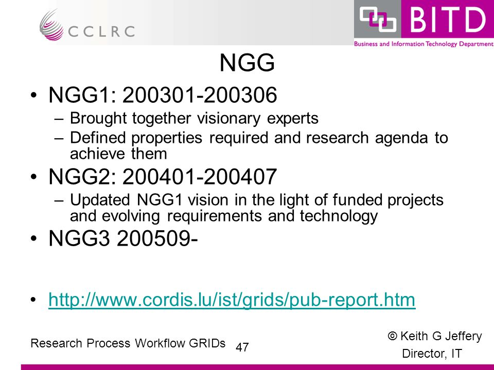 © Keith G Jeffery Director, IT 47 Research Process Workflow GRIDs NGG NGG1: 200301-200306 –Brought together visionary experts –Defined properties required and research agenda to achieve them NGG2: 200401-200407 –Updated NGG1 vision in the light of funded projects and evolving requirements and technology NGG3 200509- http://www.cordis.lu/ist/grids/pub-report.htm