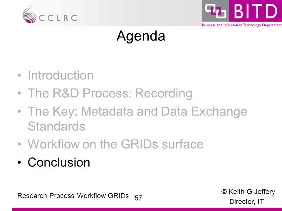 © Keith G Jeffery Director, IT 57 Research Process Workflow GRIDs Agenda Introduction The R&D Process: Recording The Key: Metadata and Data Exchange Standards Workflow on the GRIDs surface Conclusion