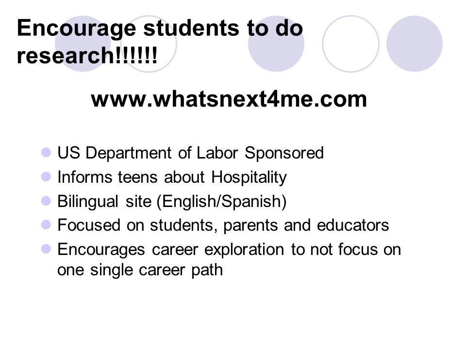 Encourage students to do research!!!!!.