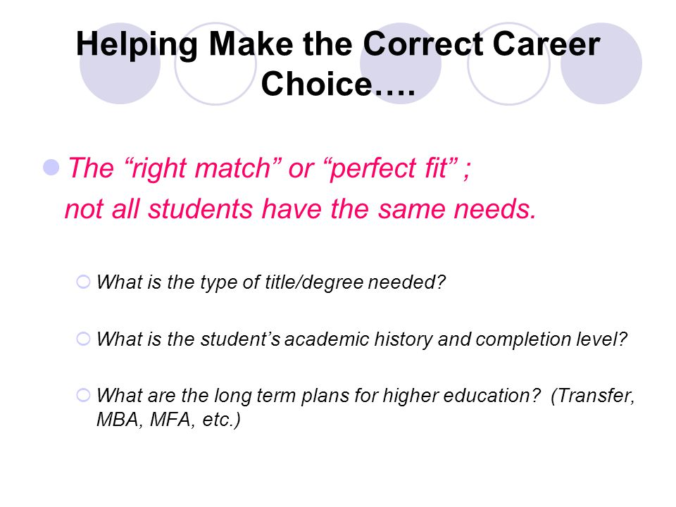 Helping Make the Correct Career Choice….