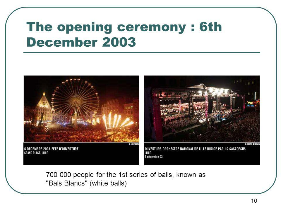 10 The opening ceremony : 6th December 2003 700 000 people for the 1st series of balls, known as Bals Blancs (white balls)