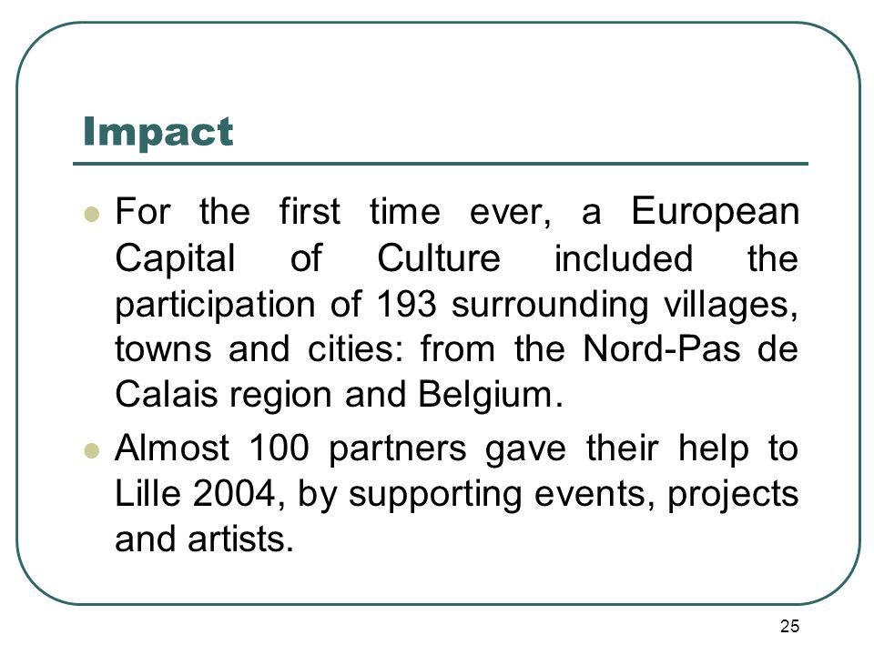25 Impact For the first time ever, a European Capital of Culture included the participation of 193 surrounding villages, towns and cities: from the Nord-Pas de Calais region and Belgium.