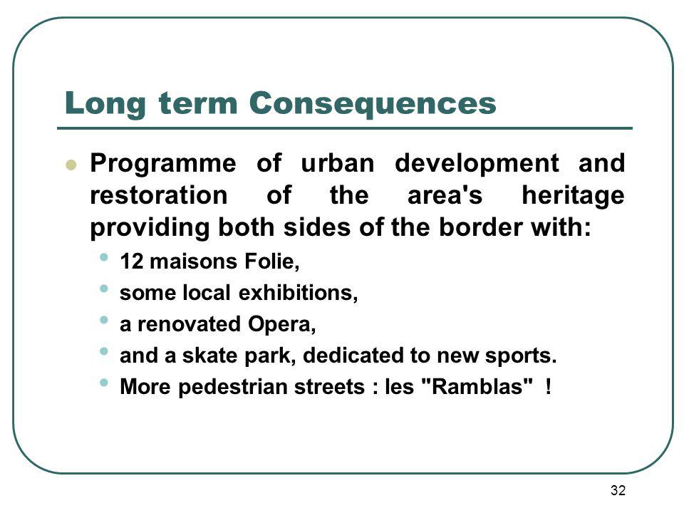 32 Long term Consequences Programme of urban development and restoration of the area s heritage providing both sides of the border with: 12 maisons Folie, some local exhibitions, a renovated Opera, and a skate park, dedicated to new sports.