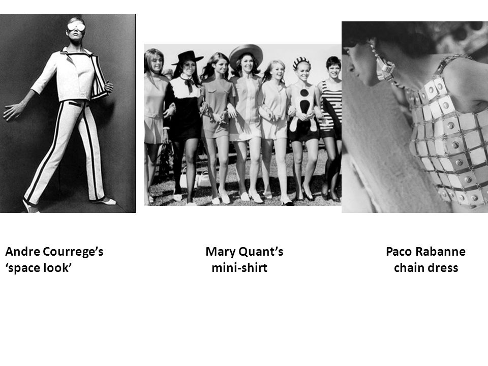 Andre Courreges Mary Quants Paco Rabanne space look mini-shirt chain dress