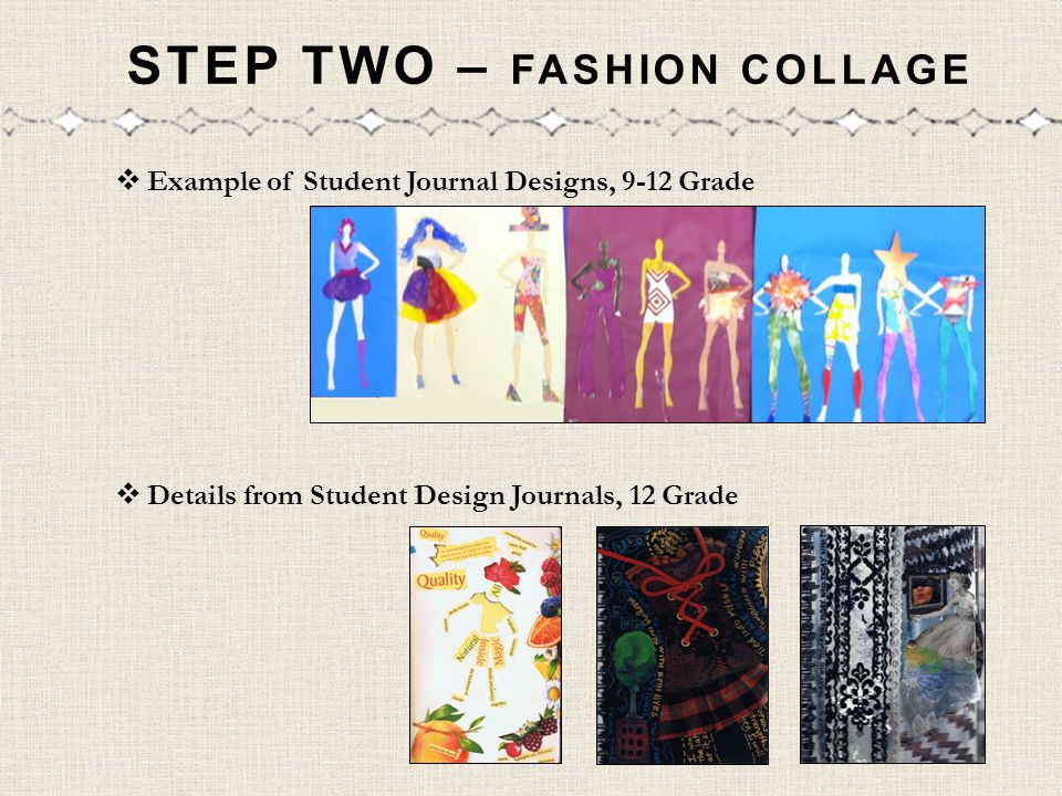 STEP TWO – FASHION COLLAGE Example of Student Journal Designs, 9-12 Grade Details from Student Design Journals, 12 Grade