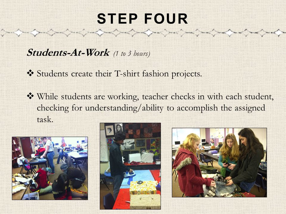 STEP FOUR Students-At-Work (1 to 3 hours) Students create their T-shirt fashion projects.