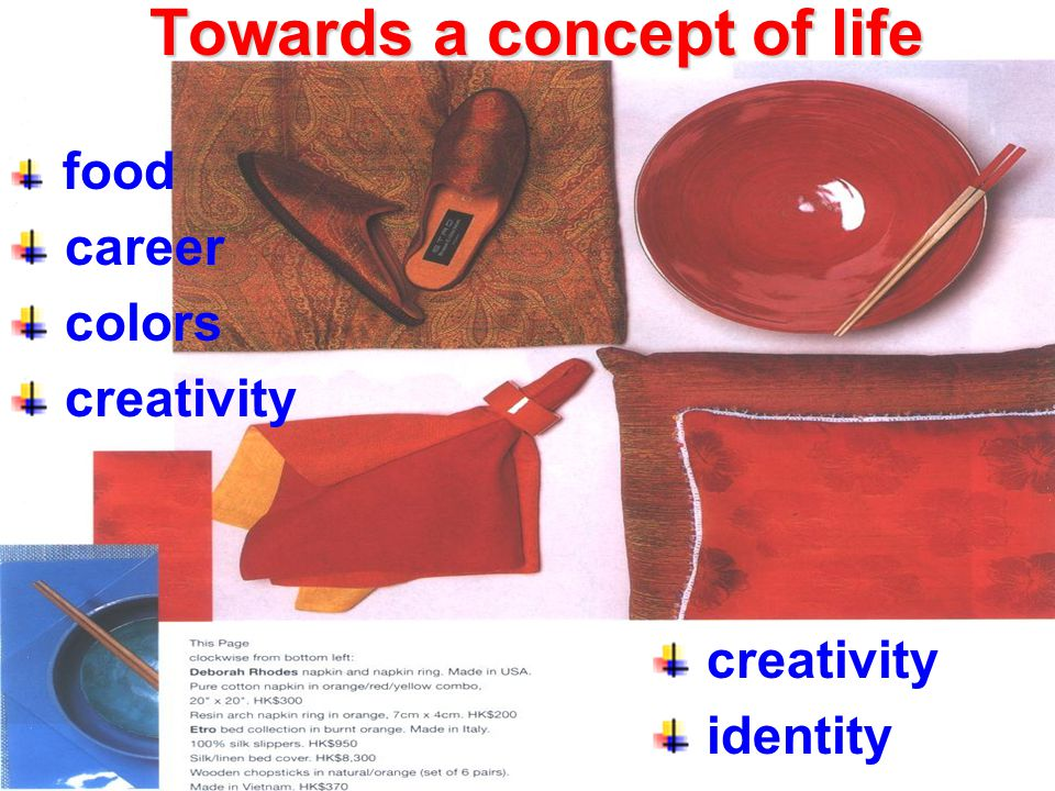 Towards a concept of life food career colors creativity identity
