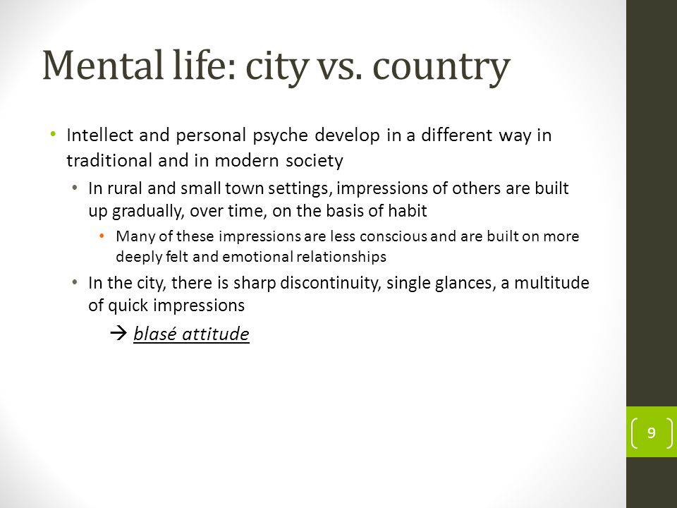 Mental life: city vs.