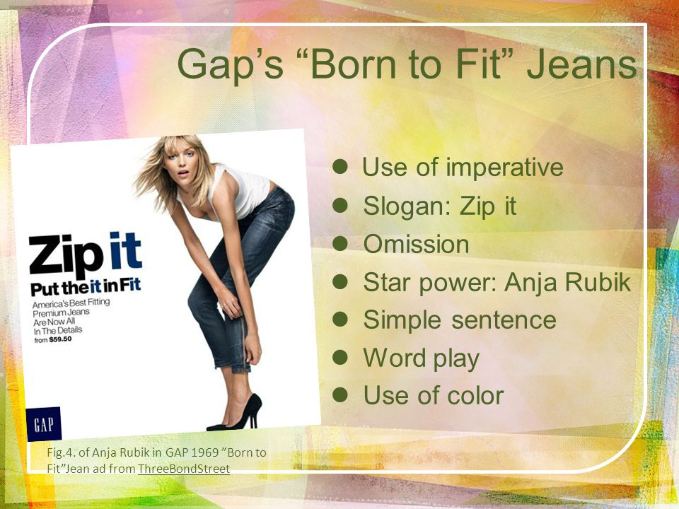 Gaps Born to Fit Jeans Use of imperative Slogan: Zip it Omission Star power: Anja Rubik Simple sentence Word play Use of color Fig.4.