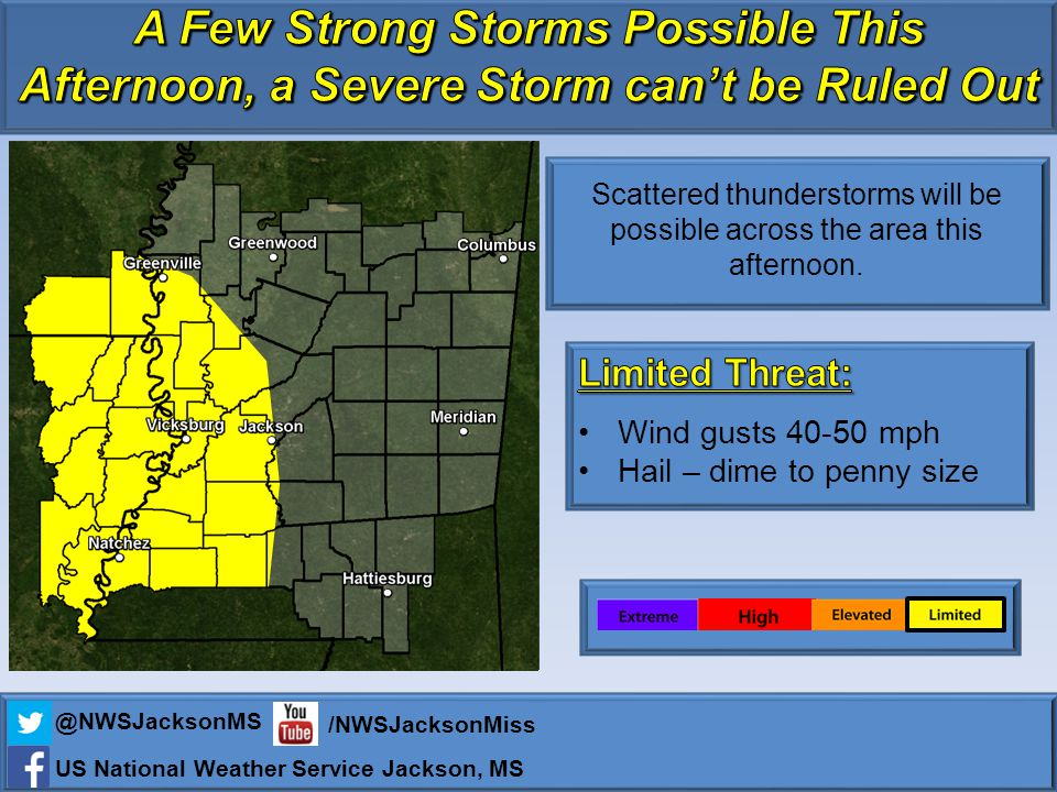 Scattered thunderstorms will be possible across the area this afternoon.