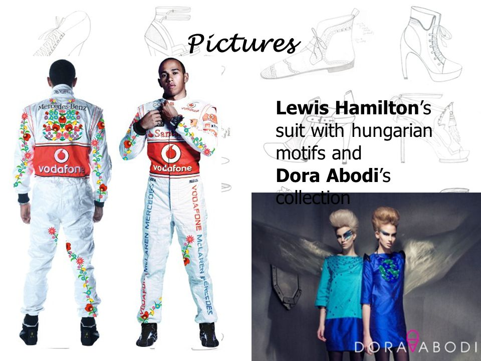 Pictures Lewis Hamiltons suit with hungarian motifs and Dora Abodis collection