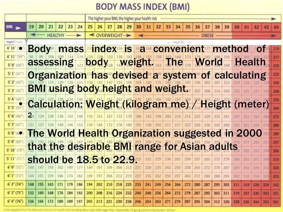 Body mass index is a convenient method of assessing body weight.