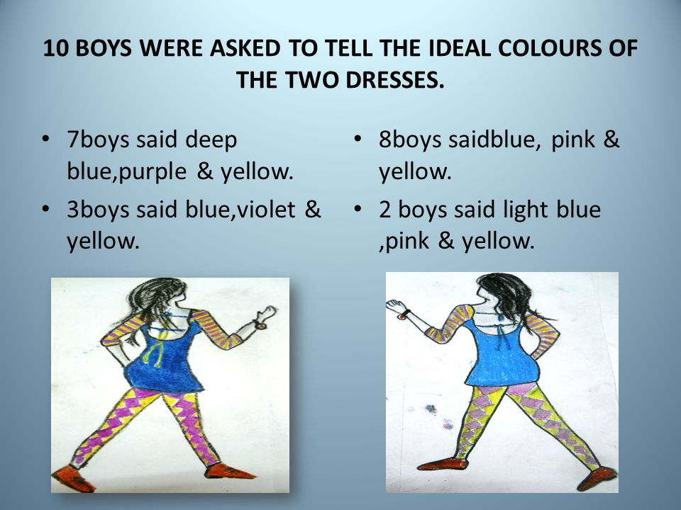 10 BOYS WERE ASKED TO TELL THE IDEAL COLOURS OF THE TWO DRESSES.