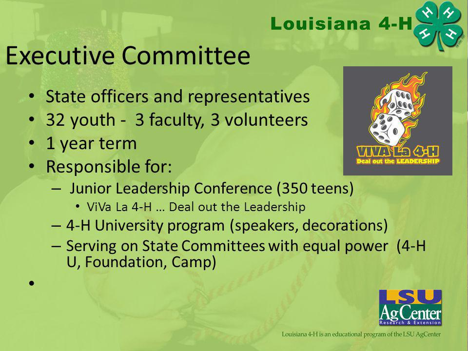 Executive Committee State officers and representatives 32 youth - 3 faculty, 3 volunteers 1 year term Responsible for: – Junior Leadership Conference (350 teens) ViVa La 4-H … Deal out the Leadership – 4-H University program (speakers, decorations) – Serving on State Committees with equal power (4-H U, Foundation, Camp)