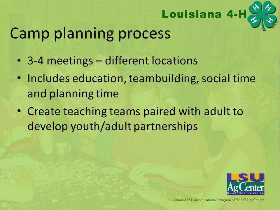 Camp planning process 3-4 meetings – different locations Includes education, teambuilding, social time and planning time Create teaching teams paired with adult to develop youth/adult partnerships