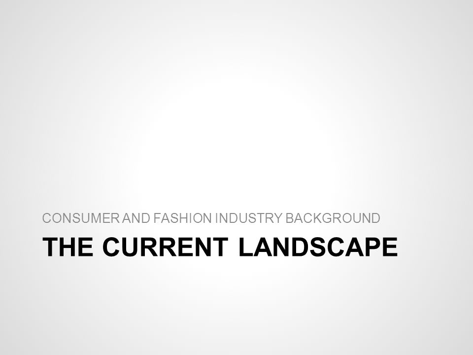 THE CURRENT LANDSCAPE CONSUMER AND FASHION INDUSTRY BACKGROUND
