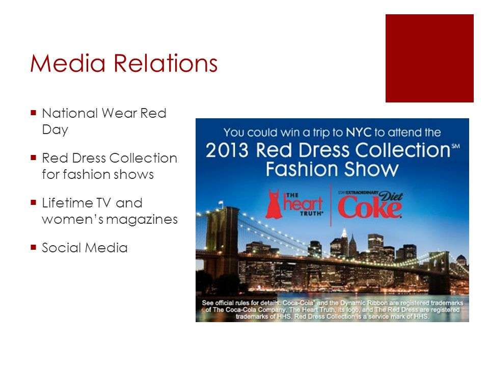 Media Relations National Wear Red Day Red Dress Collection for fashion shows Lifetime TV and womens magazines Social Media