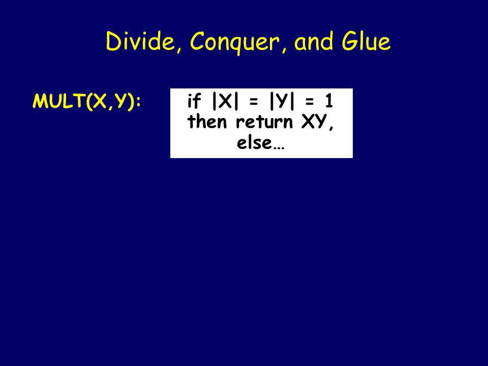 Divide, Conquer, and Glue MULT(X,Y)