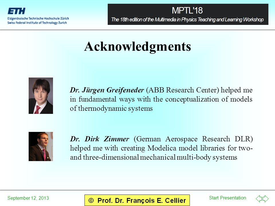 Start Presentation September 12, 2013 Acknowledgments Dr.