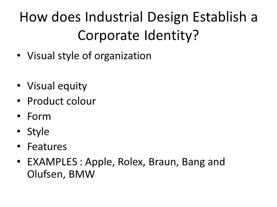 How does Industrial Design Establish a Corporate Identity.