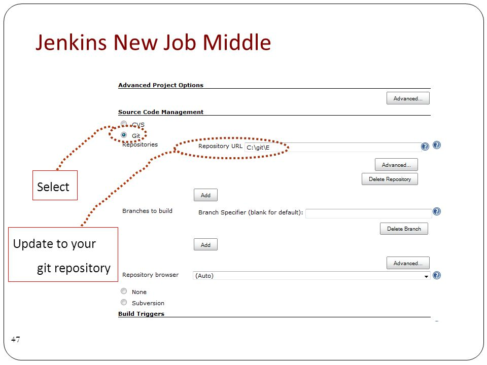 Jenkins New Job Middle 47 Select Update to your git repository