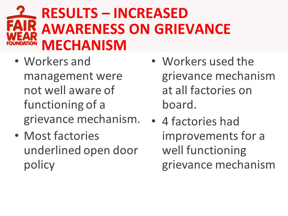 RESULTS – INCREASED AWARENESS ON GRIEVANCE MECHANISM Workers and management were not well aware of functioning of a grievance mechanism.