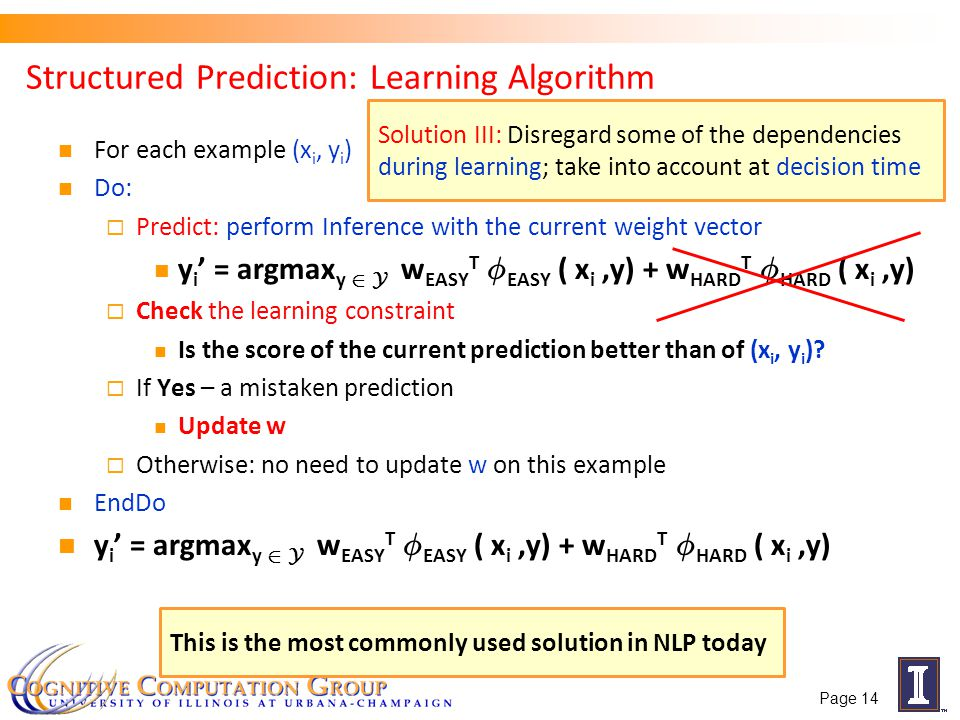 Structured Prediction: Learning Algorithm For each example (x i, y i ) Do: Predict: perform Inference with the current weight vector y i = argmax y 2 Y w EASY T Á EASY ( x i,y) + w HARD T Á HARD ( x i,y) Check the learning constraint Is the score of the current prediction better than of (x i, y i ).
