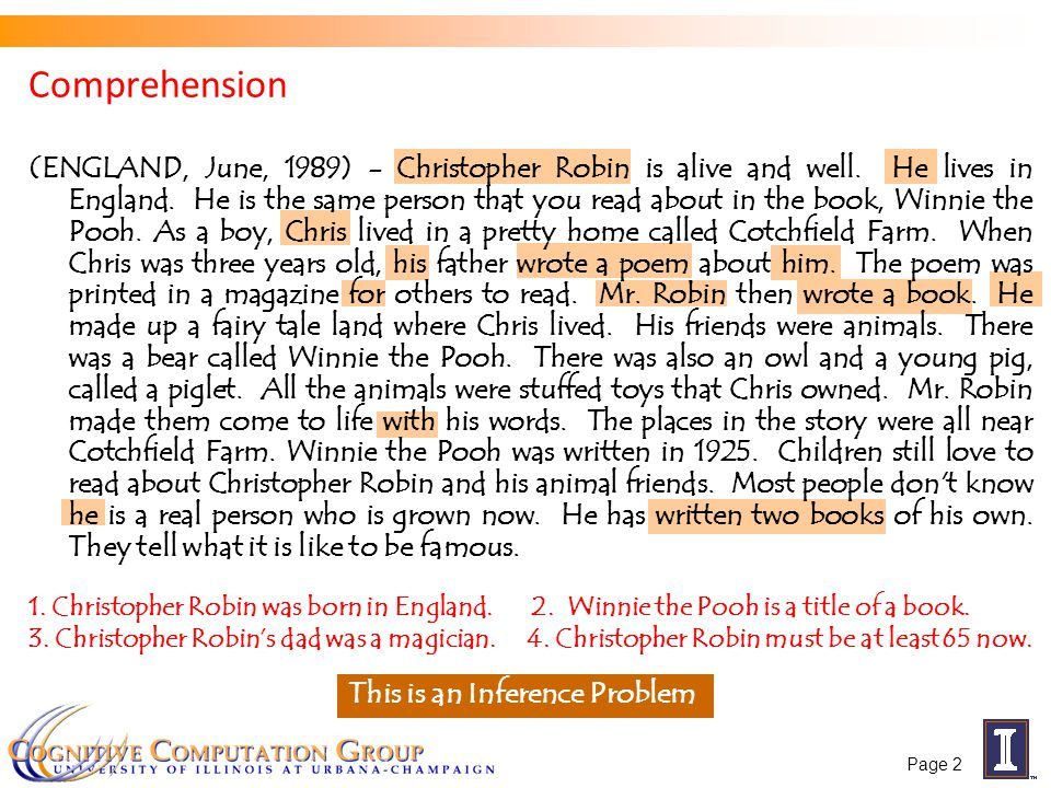 Comprehension 1. Christopher Robin was born in England.