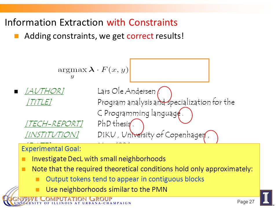 Information Extraction with Constraints Adding constraints, we get correct results.