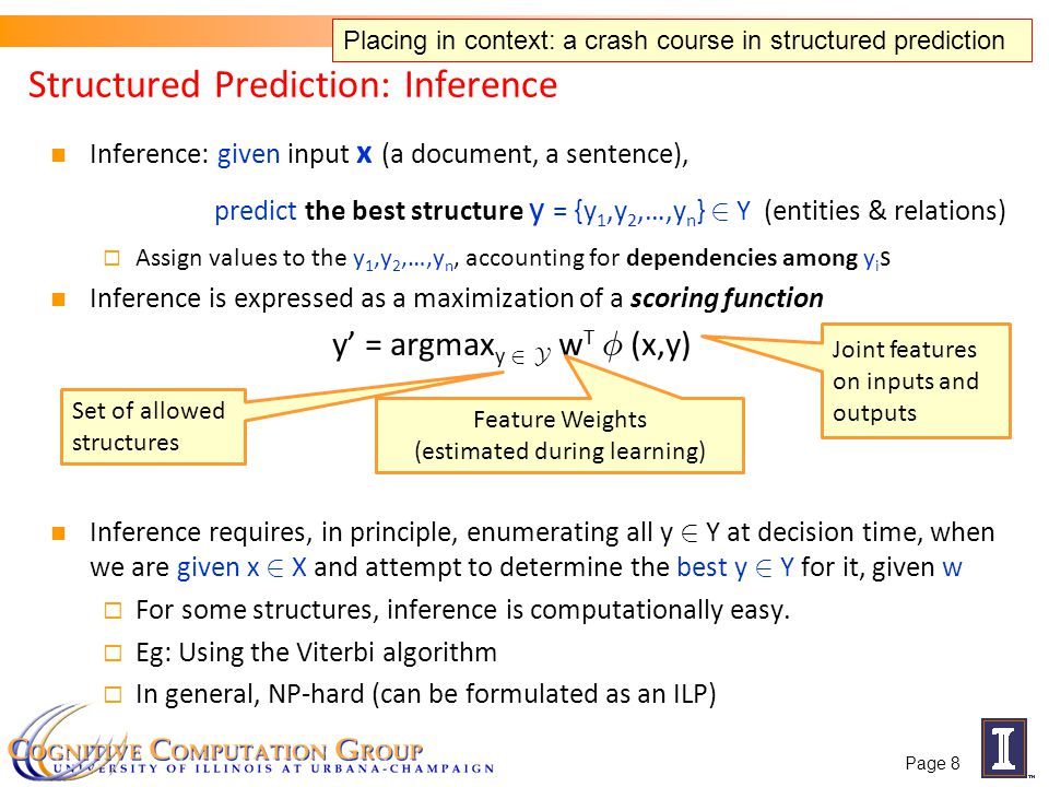 Inference: given input x (a document, a sentence), predict the best structure y = {y 1,y 2,…,y n } 2 Y (entities & relations) Assign values to the y 1,y 2,…,y n, accounting for dependencies among y i s Inference is expressed as a maximization of a scoring function y = argmax y 2 Y w T Á (x,y) Inference requires, in principle, enumerating all y 2 Y at decision time, when we are given x 2 X and attempt to determine the best y 2 Y for it, given w For some structures, inference is computationally easy.