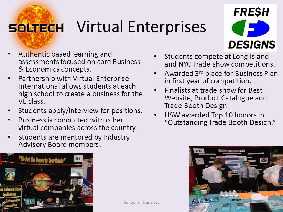 Virtual Enterprises Authentic based learning and assessments focused on core Business & Economics concepts.