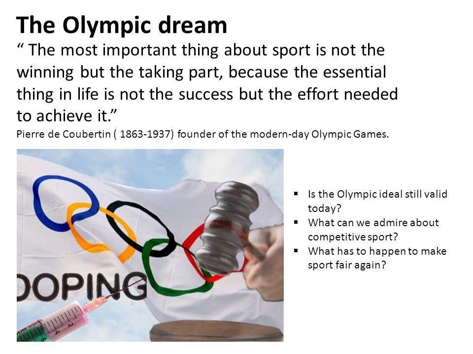 Doping is the taking of substances with the aim of improving performance in sport.