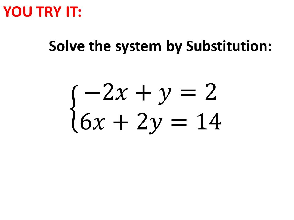 YOU TRY IT: Solve the system by Substitution: