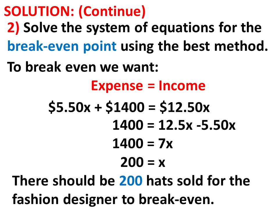 SOLUTION: (Continue) 2) Solve the system of equations for the break-even point using the best method.