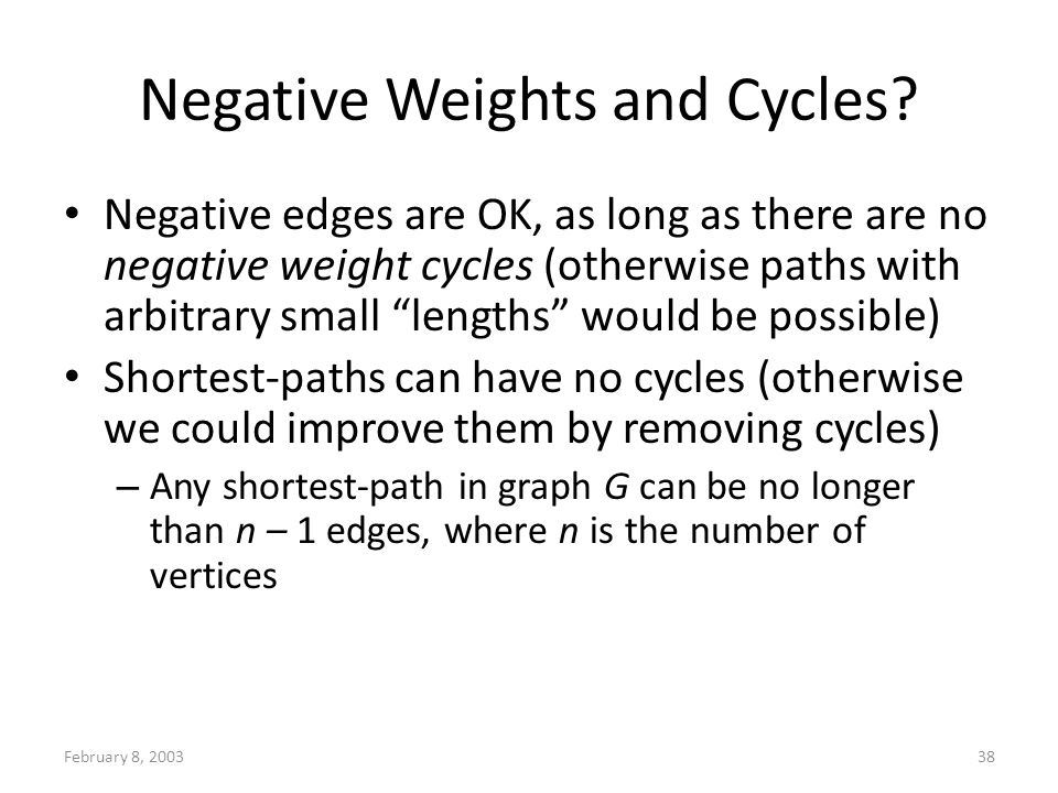 February 8, 200338 Negative Weights and Cycles.