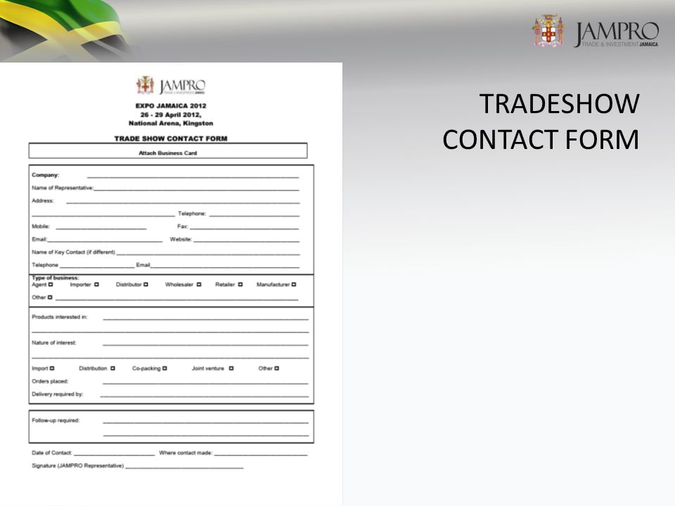 TRADESHOW CONTACT FORM