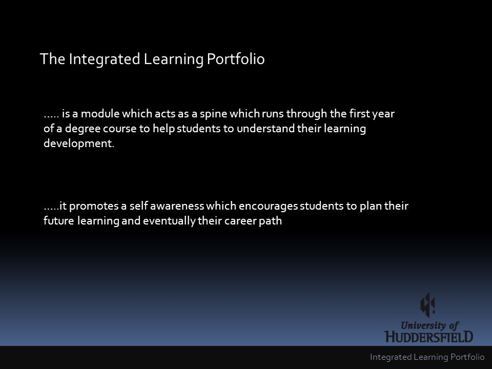 The Integrated Learning Portfolio …..
