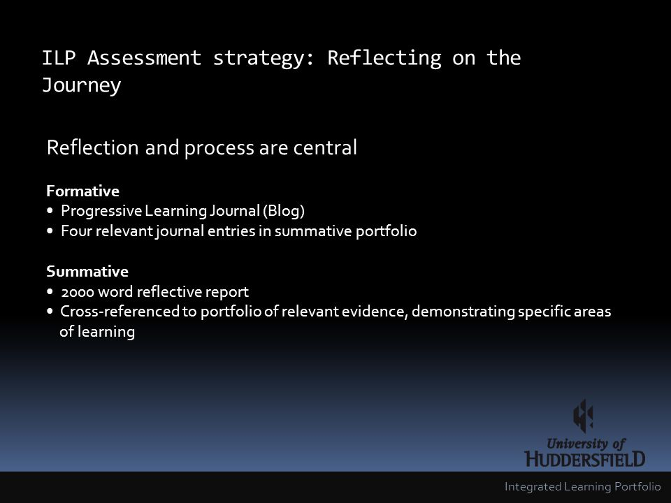 ILP Assessment strategy: Reflecting on the Journey Integrated Learning Portfolio Reflection and process are central Formative Progressive Learning Journal (Blog) Four relevant journal entries in summative portfolio Summative 2000 word reflective report Cross-referenced to portfolio of relevant evidence, demonstrating specific areas of learning