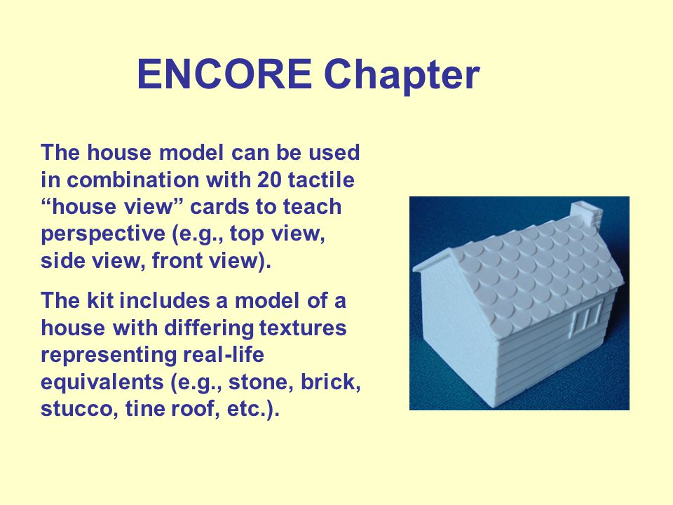 ENCORE Chapter The house model can be used in combination with 20 tactile house view cards to teach perspective (e.g., top view, side view, front view).