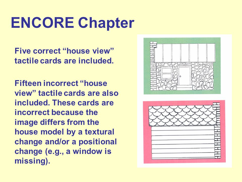 ENCORE Chapter Five correct house view tactile cards are included.