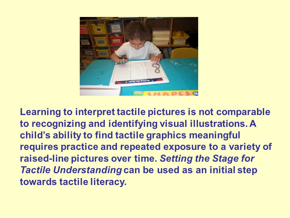 Learning to interpret tactile pictures is not comparable to recognizing and identifying visual illustrations.
